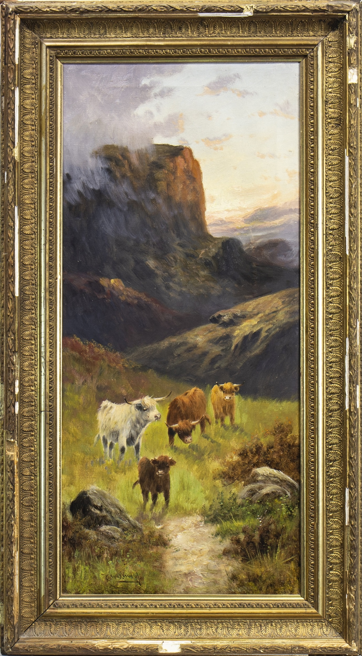 Lot 604 - HIGHLAND CATTLE, AN OIL BY CHARLES W OSWALD