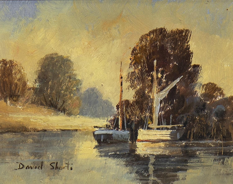 Lot 675 - BOATS ON A LAKE, BY DAVID SHORT