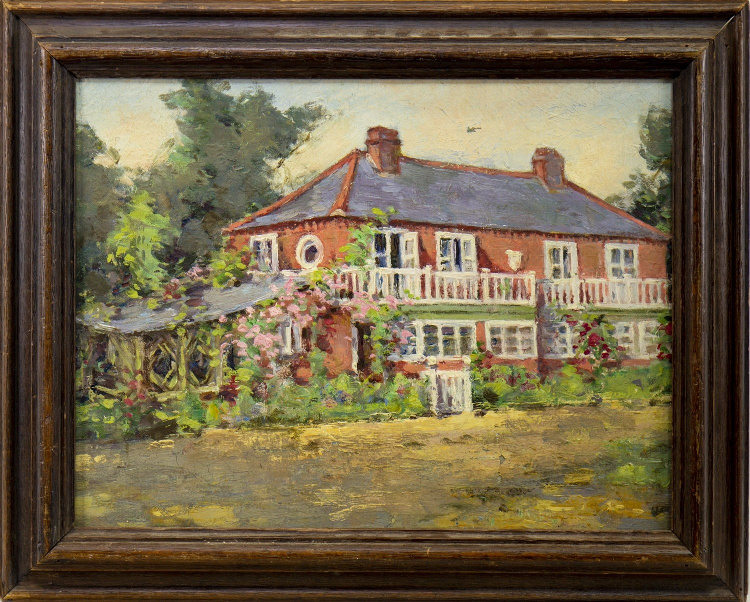 Lot 684 - COUNTRY HOUSE, AN OIL ATTRIBUTED TO WILFRED GABRIEL DE GLEHN