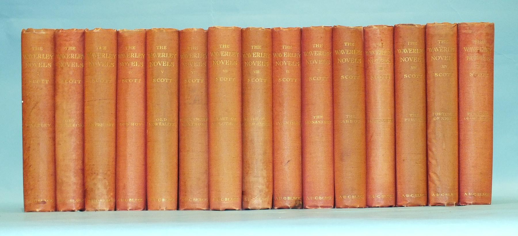 Scott (Sir Walter), Waverley Novels, 15 vols, cl gt, 8vo, Adam & Charles Black, 1902 and other