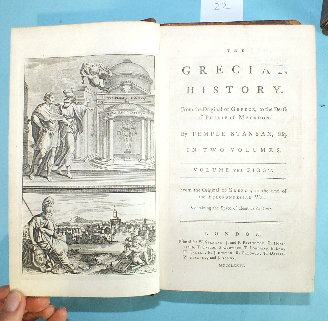 Stanyan (Temple), The Grecian History, 2 vols, engr frontis, fldg map, cf gt, 8vo, 1774; Smith ( - Image 2 of 3