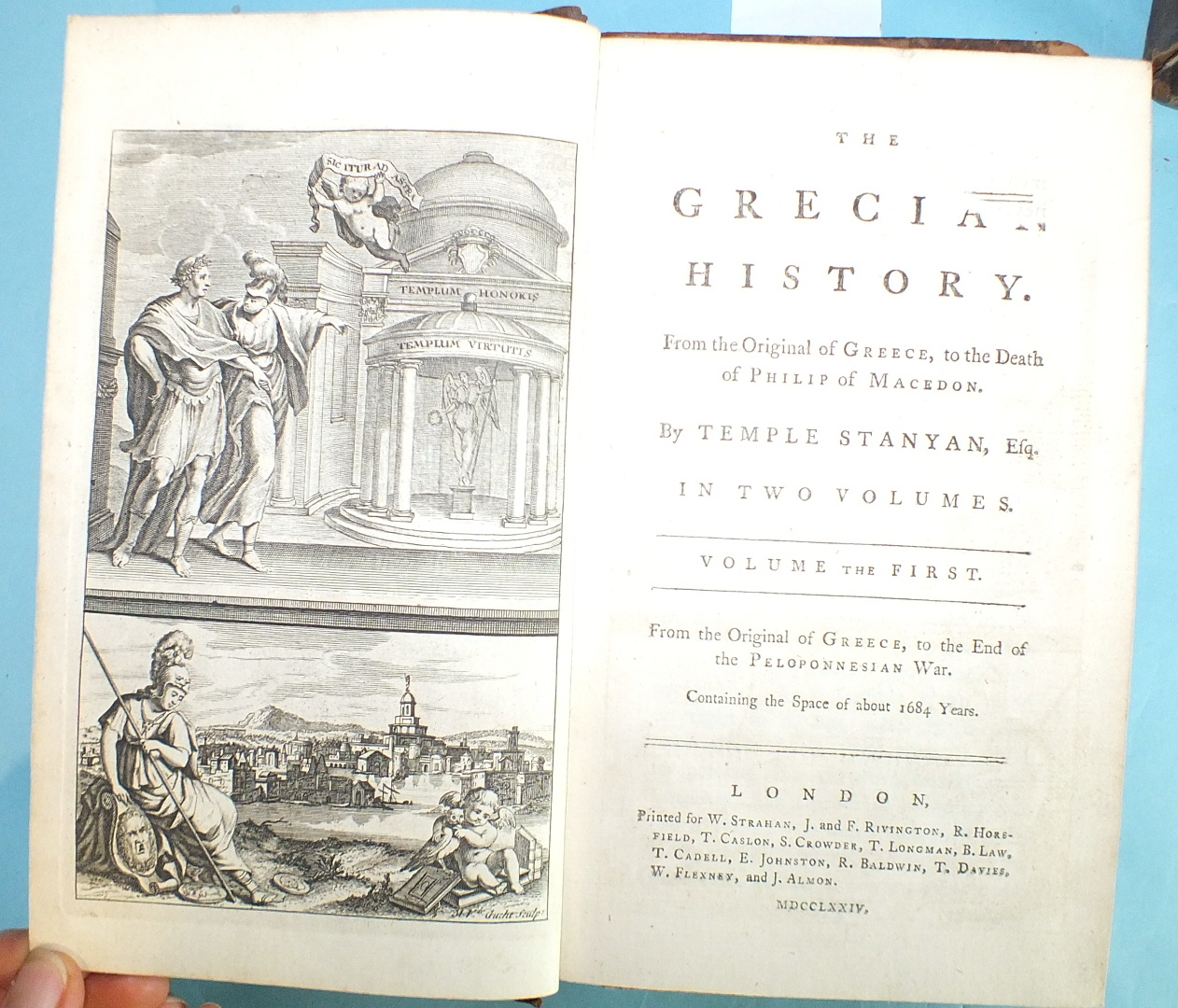 Stanyan (Temple), The Grecian History, 2 vols, engr frontis, fldg map, cf gt, 8vo, 1774; Smith ( - Image 3 of 3
