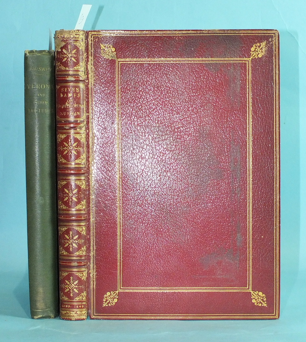 Ruskin (John), The Seven Lamps of Architecture, 2nd Edn, engr frontis and 13 plts, tissue gds,