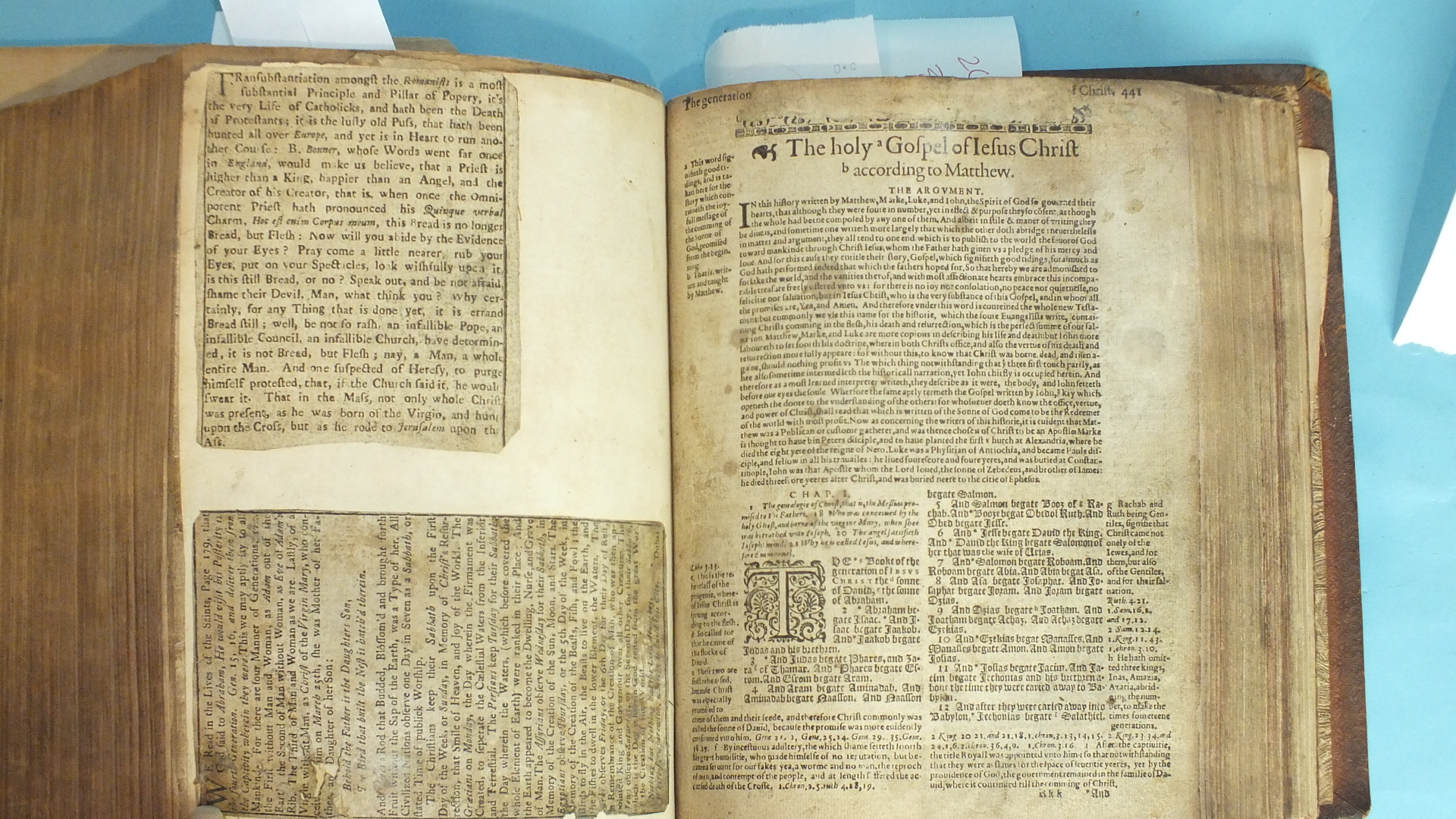 "Lot 8 - Bible: Geneva or ""Breeches Bible"", engr tp to the two concordances, (printed by Robert Barker"