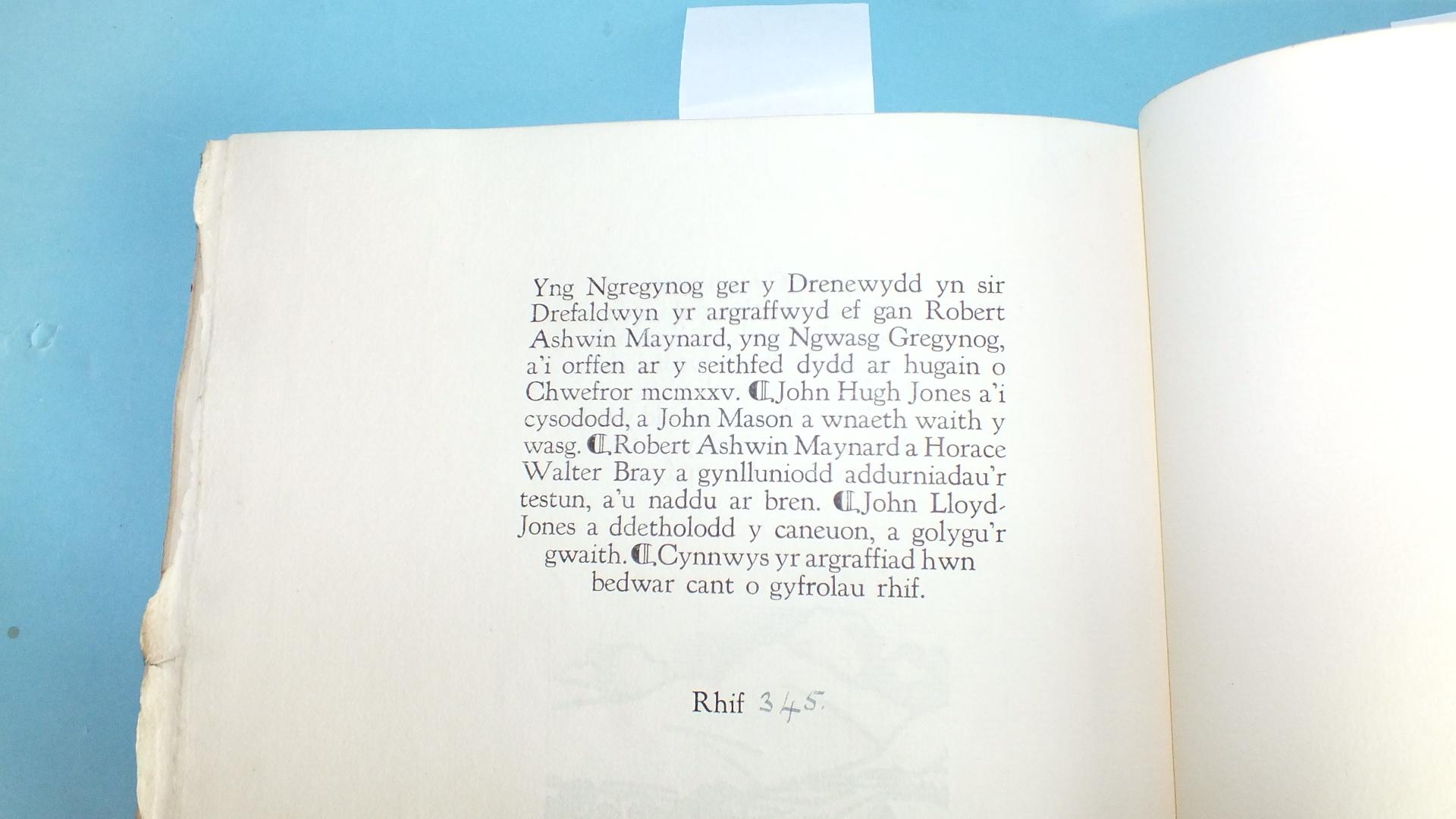 Lot 28 - Gregynog Press; Jones (John Lloyd), ed, Caneuon Ceiriog Detholiad, wood-cut port frontis and