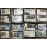 A large collection of mainly modern commemorative covers in albums and loose, in three boxes, with