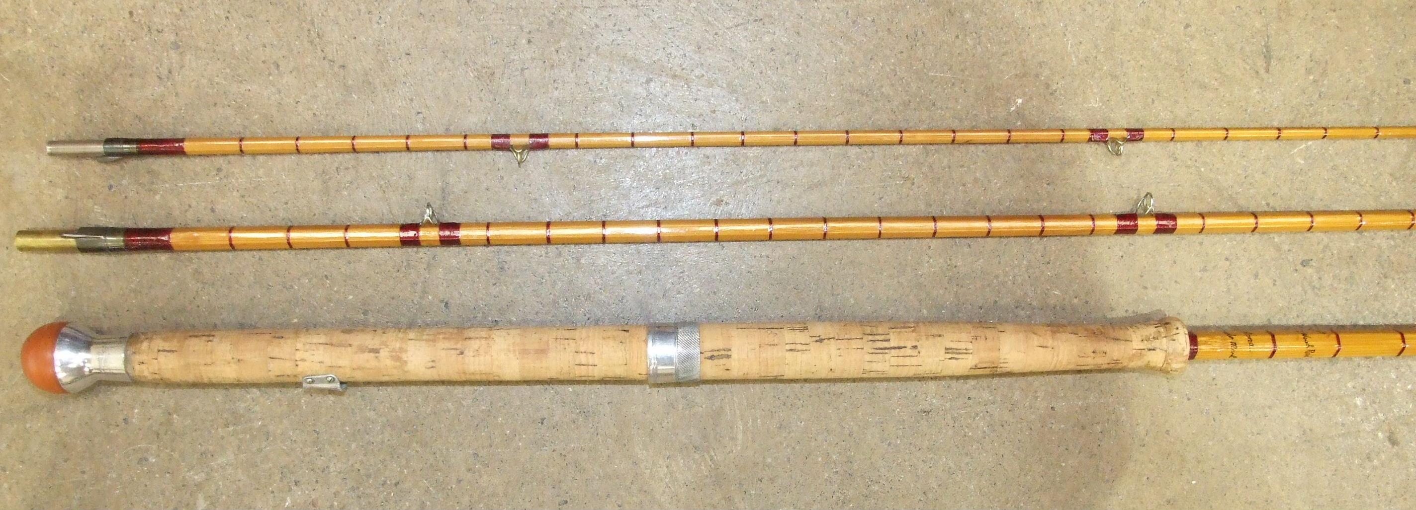 """Lot 425 - A Hardy's 12' three-piece split-cane rod """"The AHE Wood Rod No.3"""" no. E64458, (restored)."""