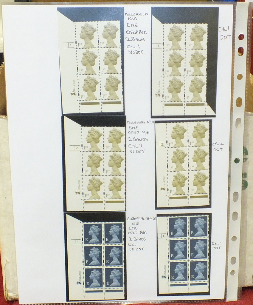 A collection of Great British mint Machin definitive cylinder blocks, in a binder, with values to £ - Image 5 of 6