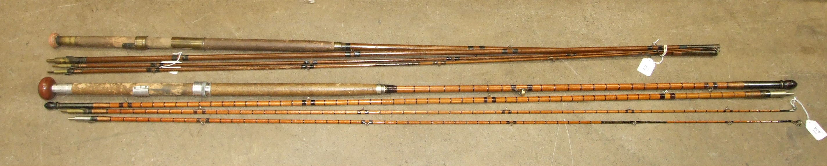 """Lot 424 - A Hardy's 16' steel-centred split-cane three-piece fly rod """"The Hi Regan"""", with spare tip, (1"""