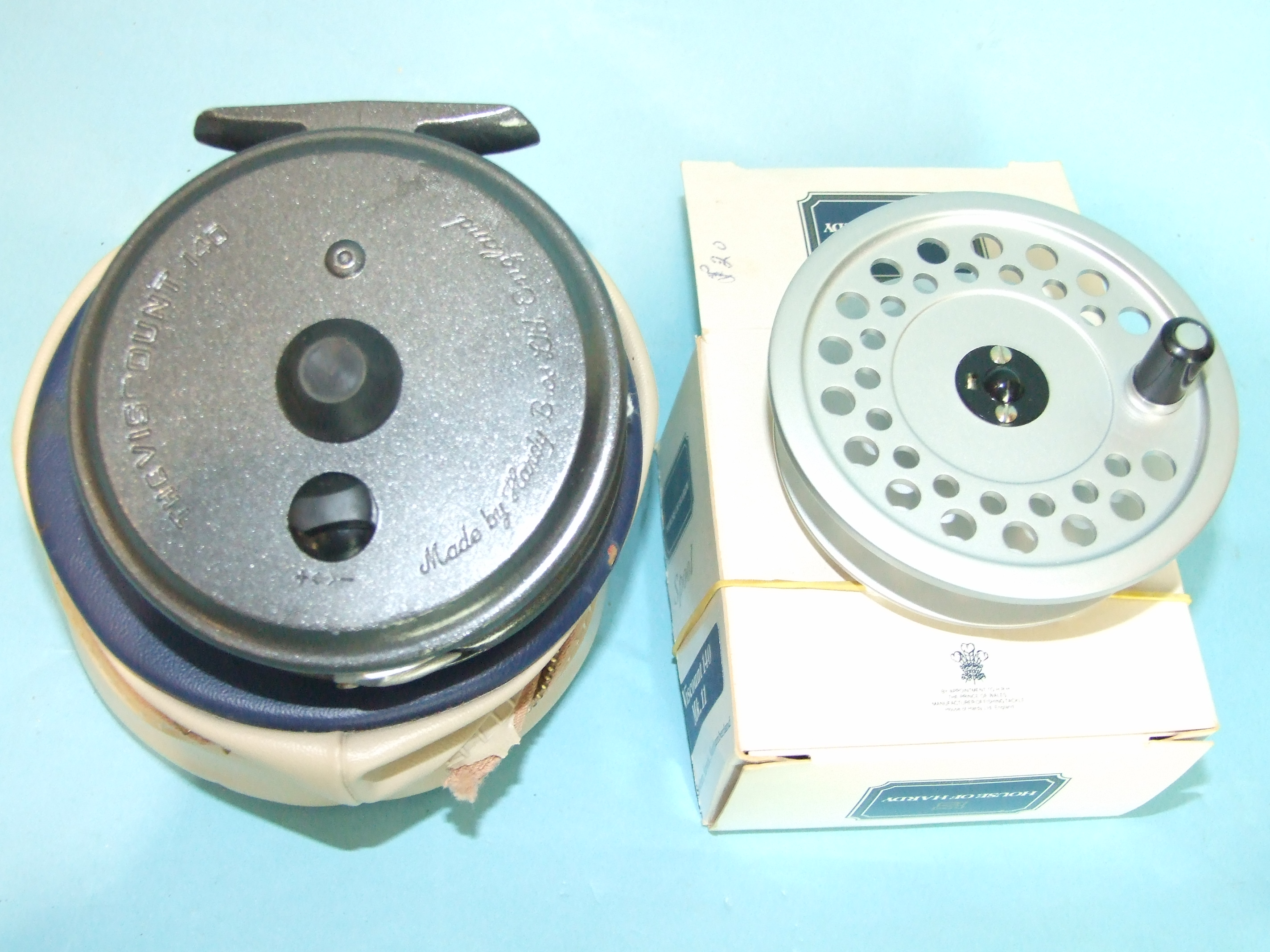 """Lot 415 - A Hardy Viscount 3½"""" fly reel and a Hardy Viscount MkII spare spool, (2)."""