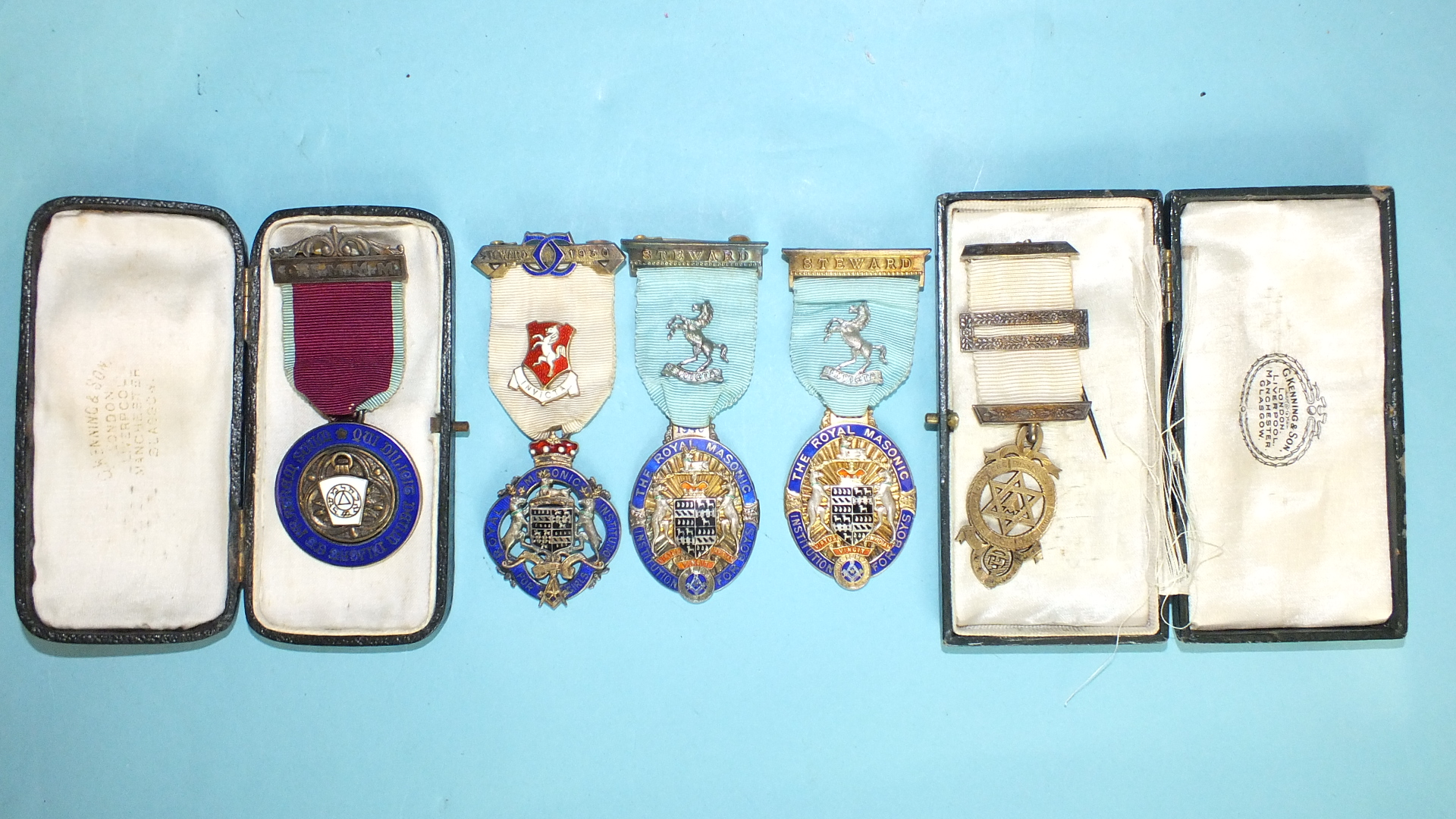 Lot 189 - A Royal Masonic Institution for Girls silver steward's jewel, 1930 and four others, (5).