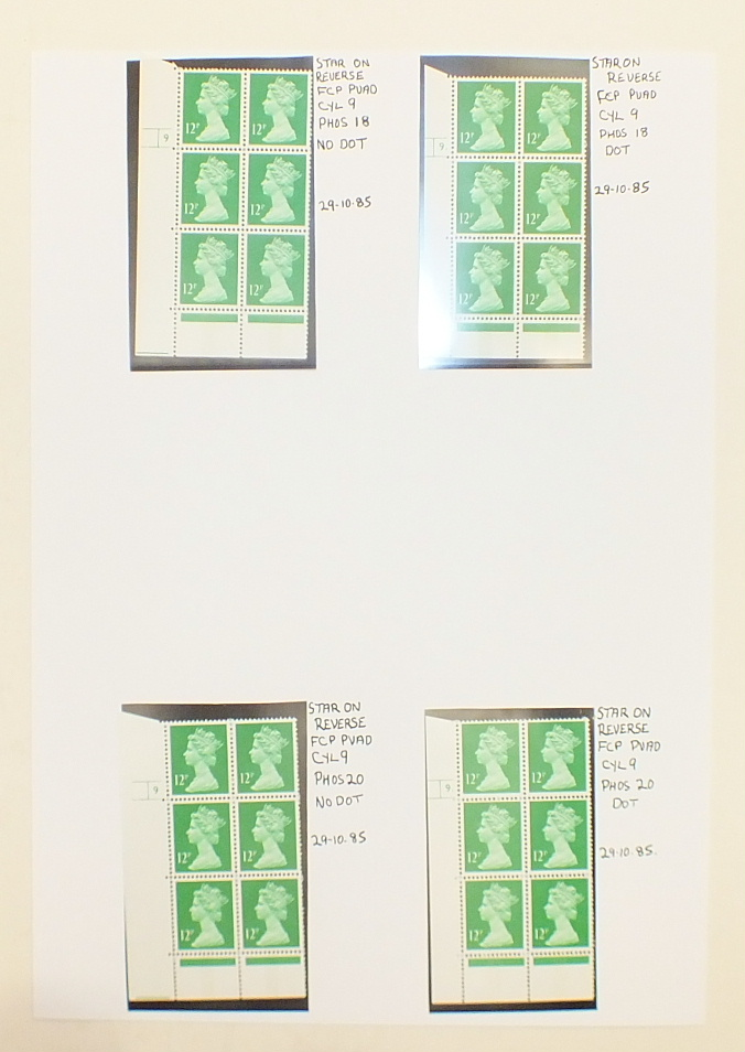 A collection of Great British mint Machin definitive cylinder blocks, in a binder, with values to £ - Image 3 of 6