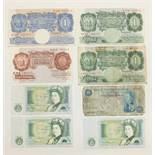 A Bank of England Peppiatt blue £1 note D58D 292950, a Beale £1 note X77C 149265 (two pin holes),