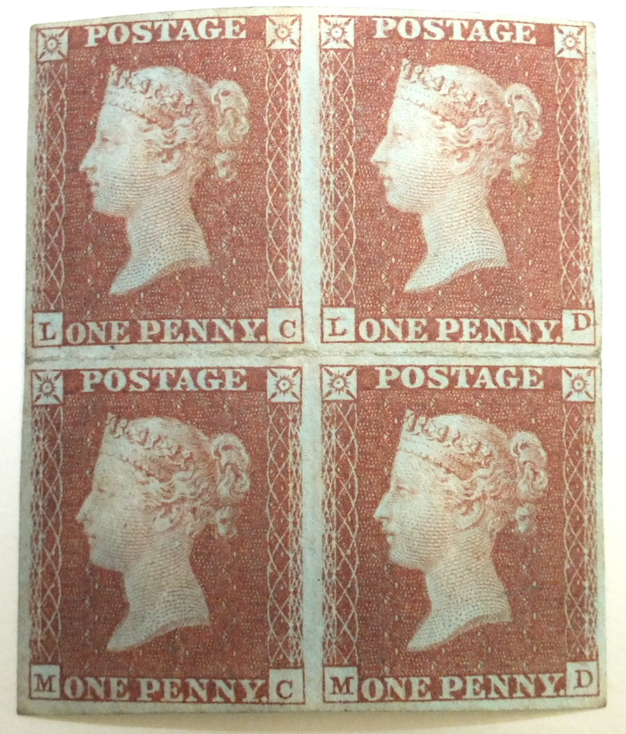 Great Britain 1841 1d red, fresh mint block of four, heavily-folded horizontally.