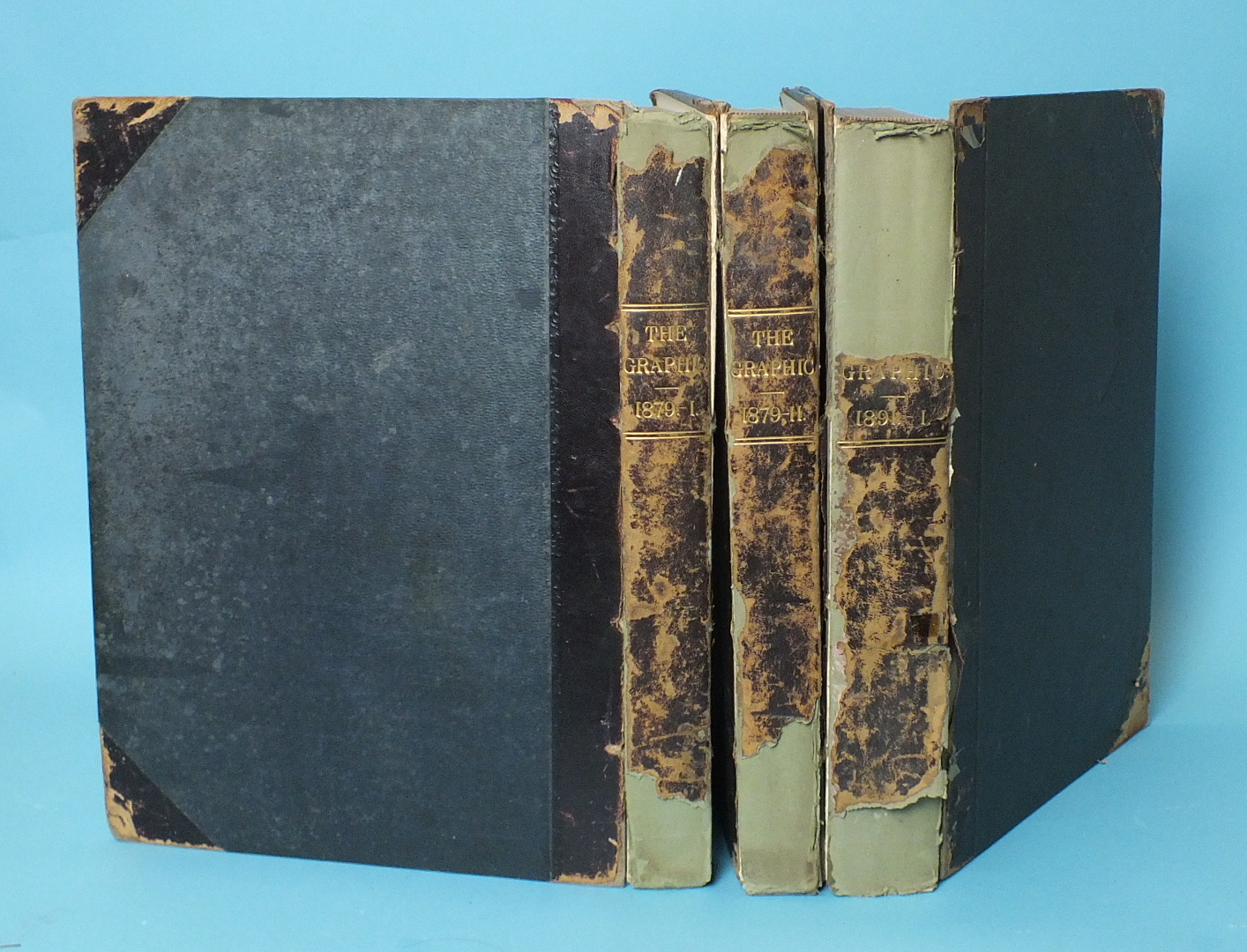 The Graphic, 3 vols, 1879 (I & II) and 1891 (I), hf mor gt, fo, (bindings af, one bd on 1891 vol