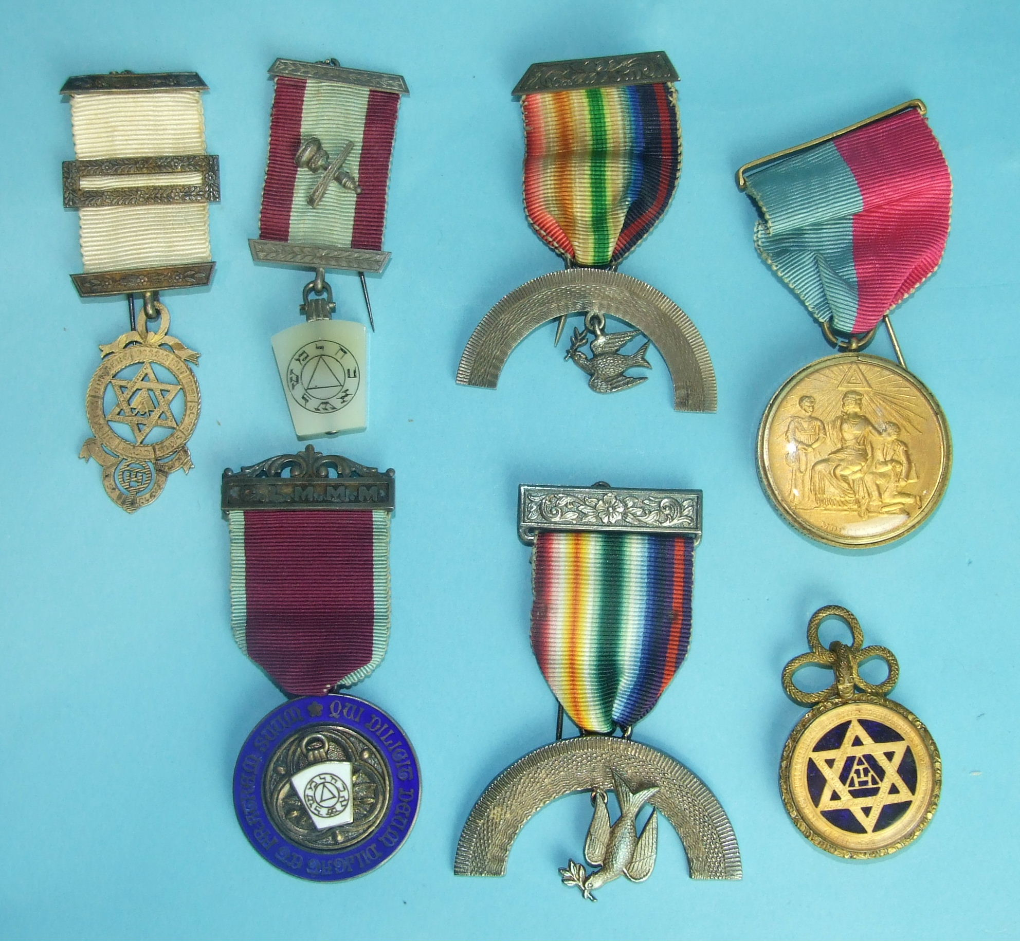 Lot 192 - Two silver Royal Ark Mariners breast jewels, a silver Mark jewel and others.