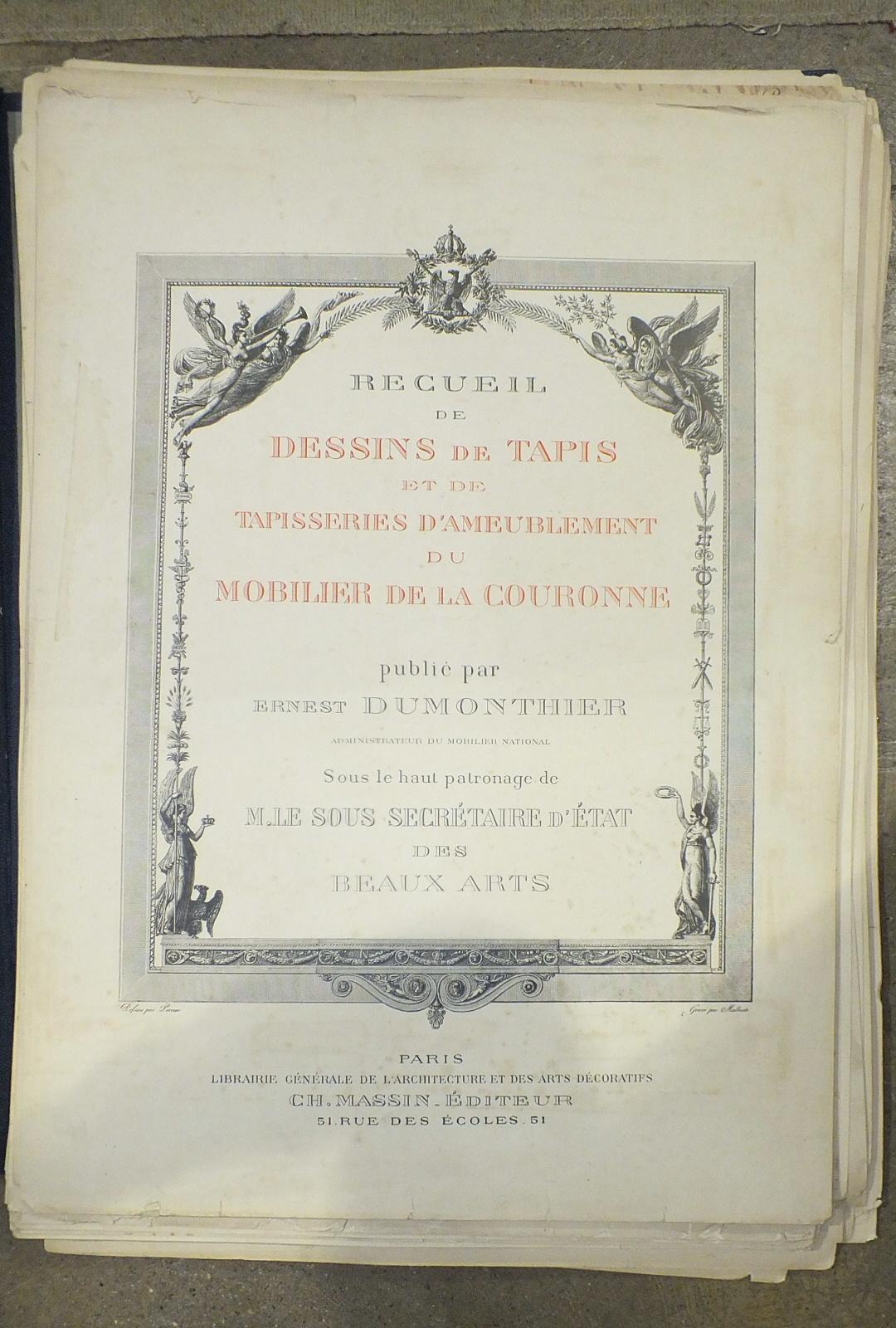 Dumonthier (Ernest), Recueil de Dessins de Tapis et de Tapisseries d'Ameublement du Mobilier de la
