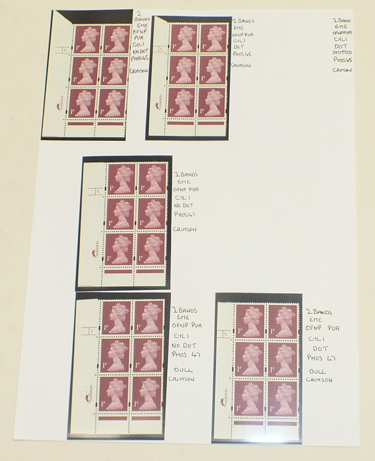 A collection of Great British mint Machin definitive cylinder blocks, in a binder, with values to £ - Image 4 of 6