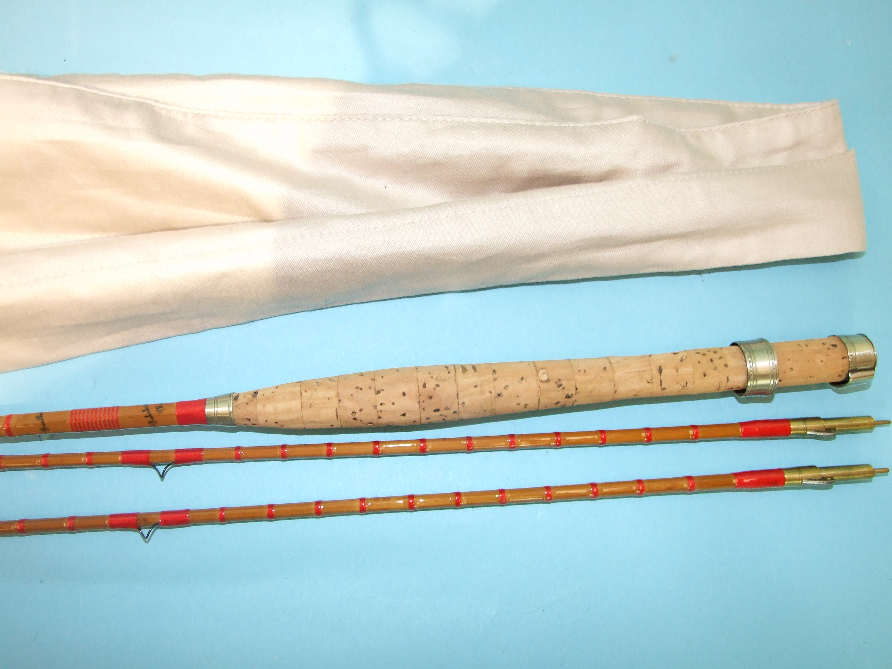 "Lot 422 - A Hardy's split-cane two-piece fly rod ""The Featherweight Regal"" no.246936, 7' 6"", with spare tip,"