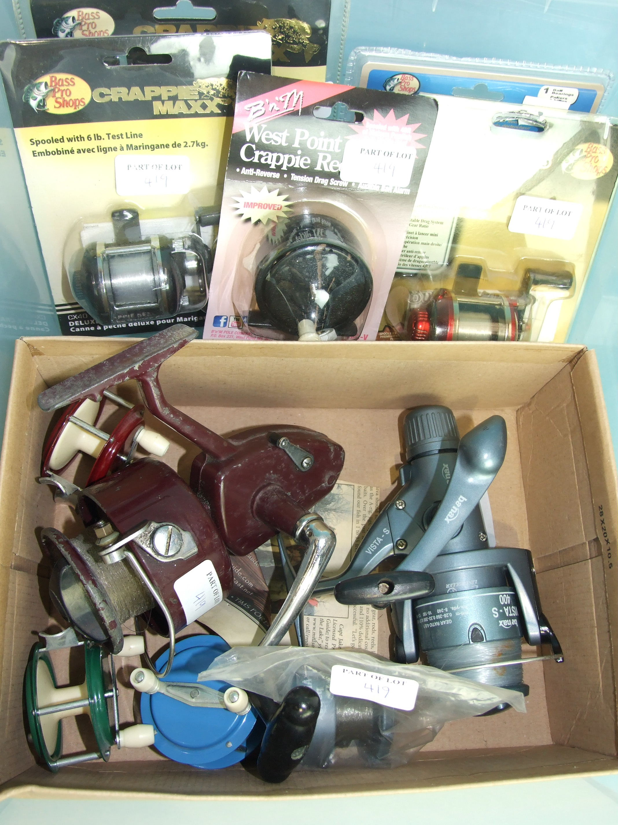 Lot 419 - A collection of Grappe fishing reels and casting reels, (10).