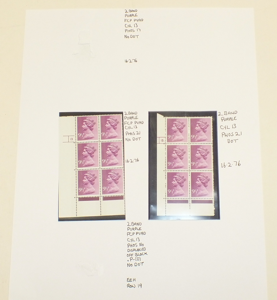 A collection of Great British mint Machin definitive cylinder blocks, in a binder, with values to £ - Image 2 of 6