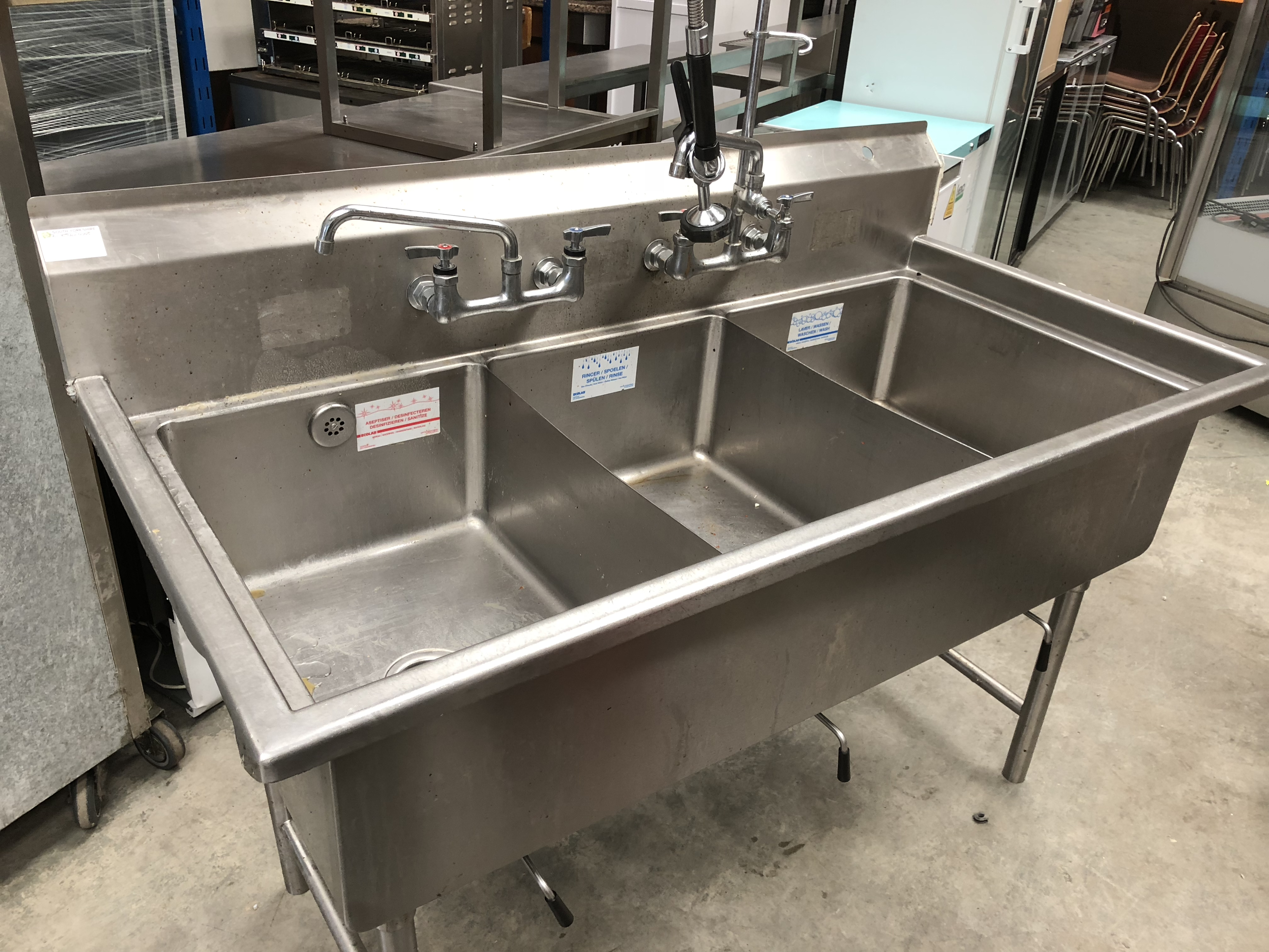 Lot 28 - Stainless Steel Triple Sink Unit and Spray Arm