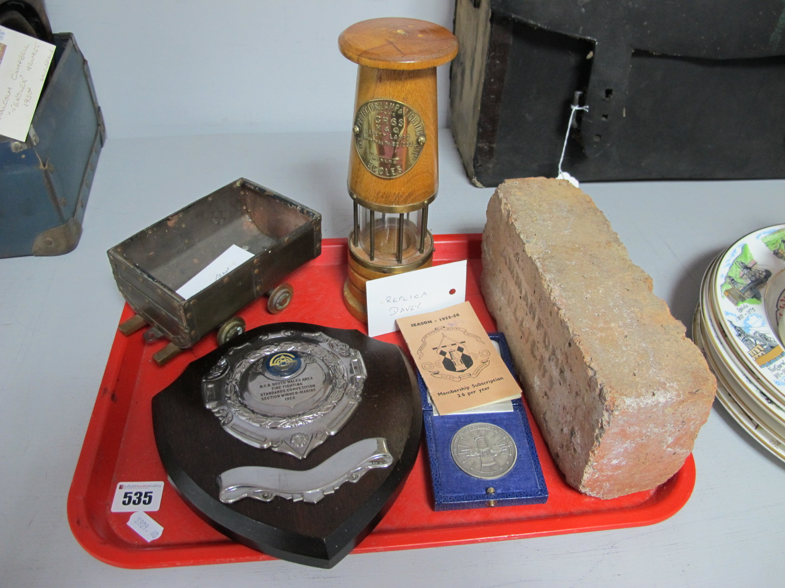 Mining Ephemera. Replica Davey Lamp, First Aid Medal, Fire Fighting Plaque. Burnley Mining Society