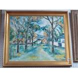 Mara, Tree Lined Street, oil on canvas, signed lower right, 50 x 59.5cm.