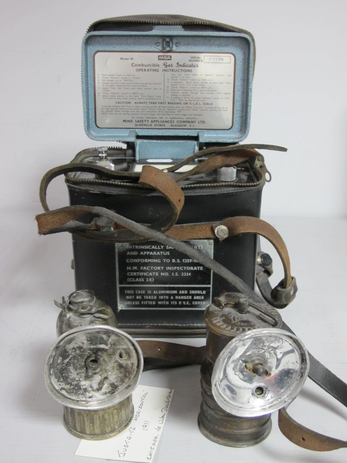 MSA Combustible Gas Indicator. Justrite Horizontal Carbide Lamp, circa 1911, Premier of Leeds