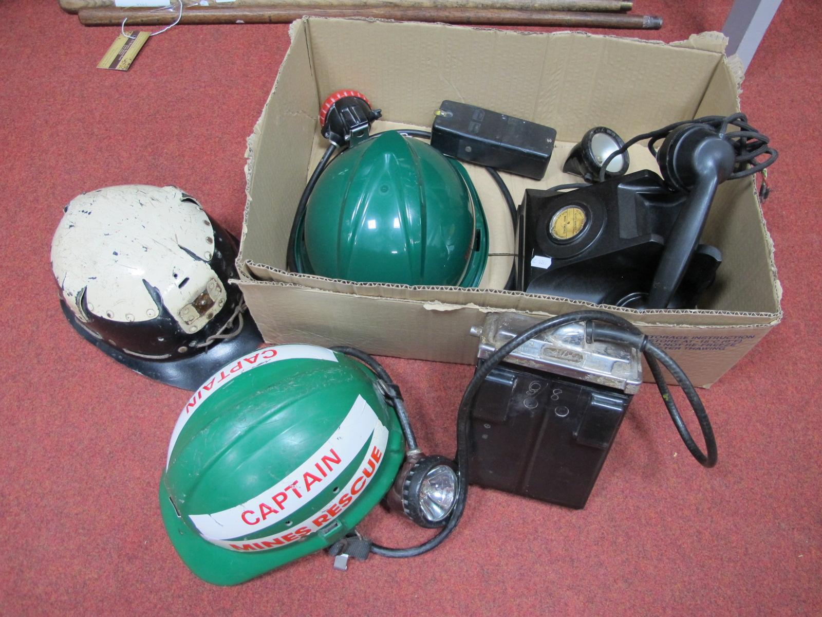 Mining Ephemera. White Topped Light Type Helmet Mines Rescue , circa 1930's / 40's. Two later in