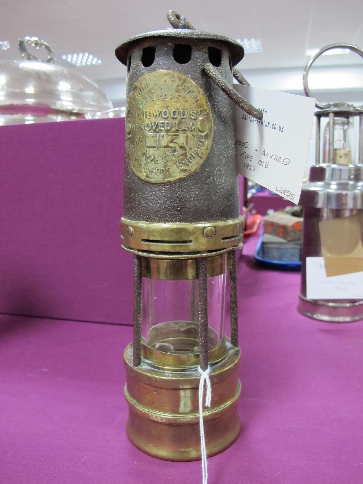 Hailwood & Ackroyd of Otley, Leeds Type 0.1B Miners Lamp, circa 1927, stamped No. 13?, 27cm high