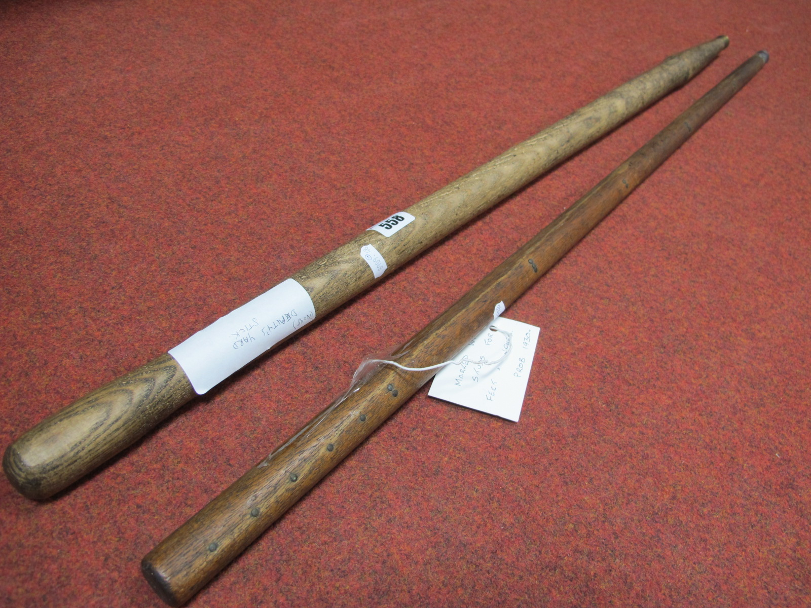 Mining Deputy's Yard Stick, marked with studs for feet and inches, 91cm high; one other. (2)