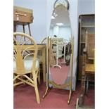 Gilt Framed Oval Cheval Mirror.