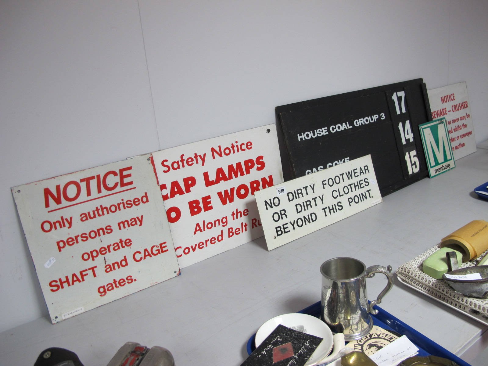 Mining Wall Signs. 'Cap Lamps to be Worn', 'No Dirty Footwear.....', 'Manhole', Production Chart,