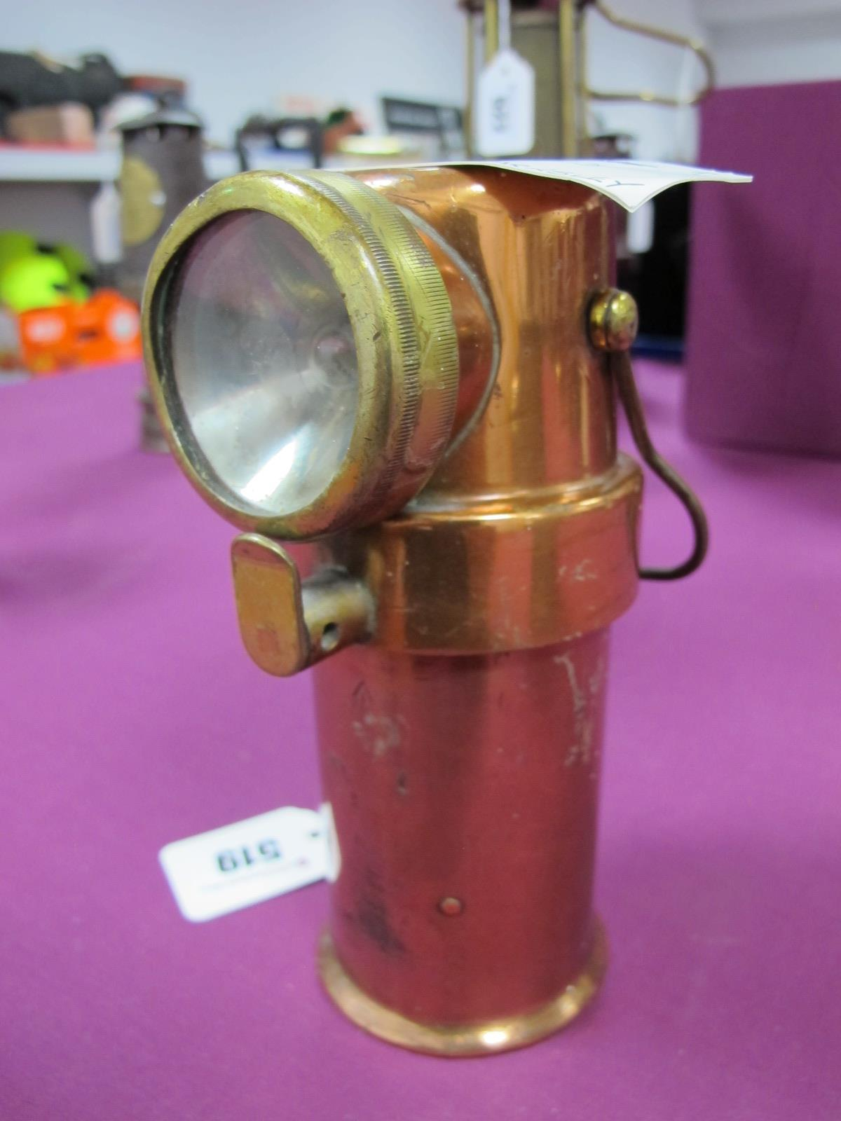 CEAG Miners Supply Co Type BE3 Deputy's Mining Lamp, in copper, circa 1930, stamped 'Barnsley 1, A2,