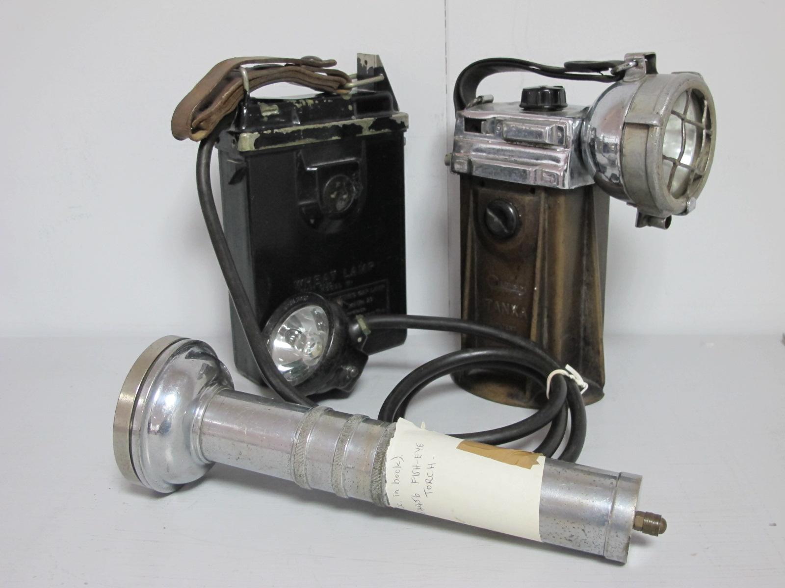 Oldham of Denton 'Tanka' Lamp No. 25, circa 1946, CEAG Fisheye Torch AP4456, Koehler Wheat Lamp