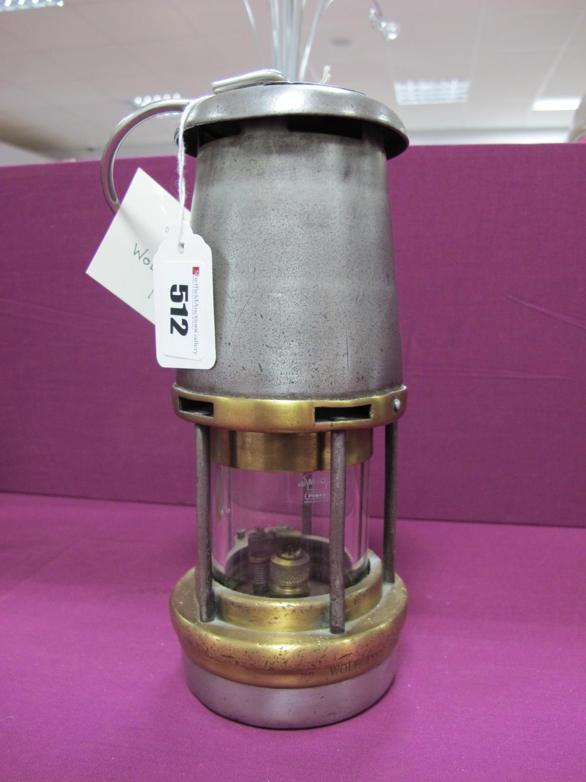 Wolf Type FG M&Q Miners Lamp, circa 1959, App No. B2/222, plaque stamped '140' to top, 21.5cm high