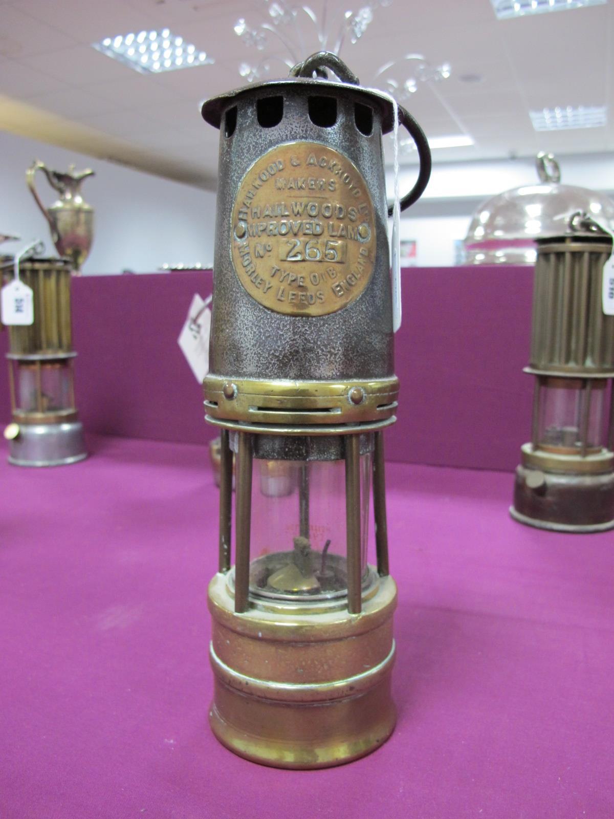 Hailwood & Ackroyd of Morley Leeds 'Type 01B' Miners Lamp, No. 265, 27cm high with suspension hook
