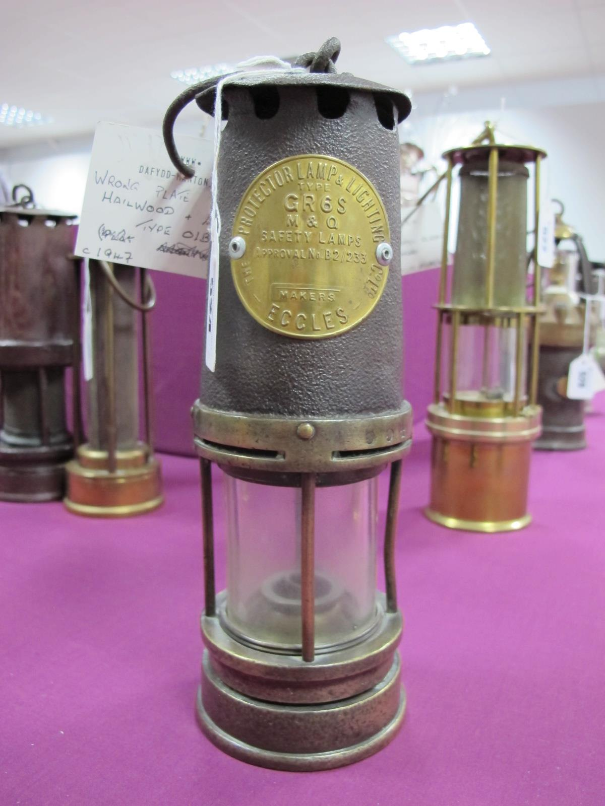Miners Lamp Bearing Eccles Plate 'Type GR 6S, M&Q', stamped '554' and '1997' to brass centre band,