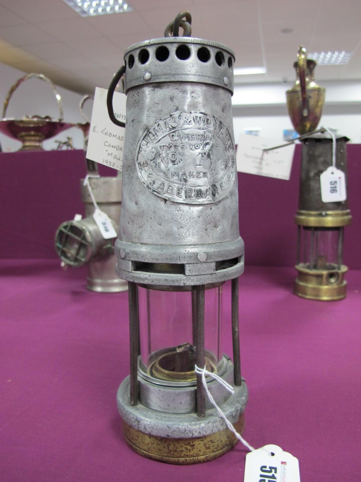 E. Thomas Williams, Aberdare, Type No. 1 Miners Lamp, 1932-39 'Managers' stamped No. 1, aluminium