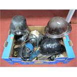 Mining Helmets. The Cromwell Protector, Huwood and Bathgate Types, each with battery pack; an