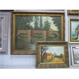 Nik Malone (Derbyshire Artist), Three Arch Bridge Scene, oil on board, signed and dated '84, 44.5