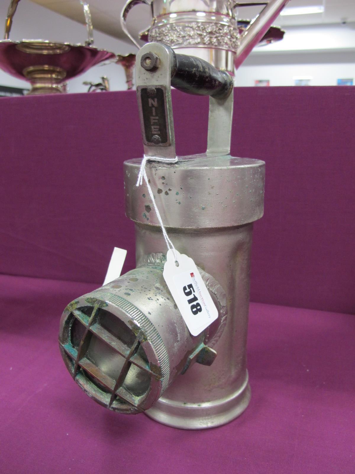 Nife of Redditch Type NG7 Miners Lamp, circa 1930, having ebonised horizontal carry handle, 24cm
