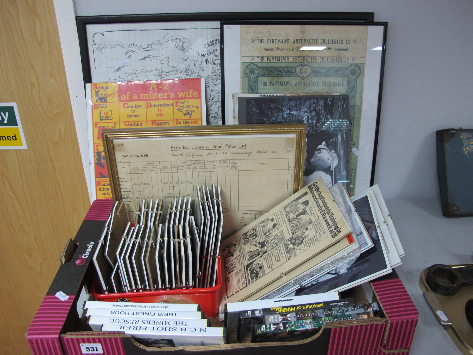 Mining Paper Ephemera. Including Training Posters, Pantmawr Collieries Share Certificate, Postcards,