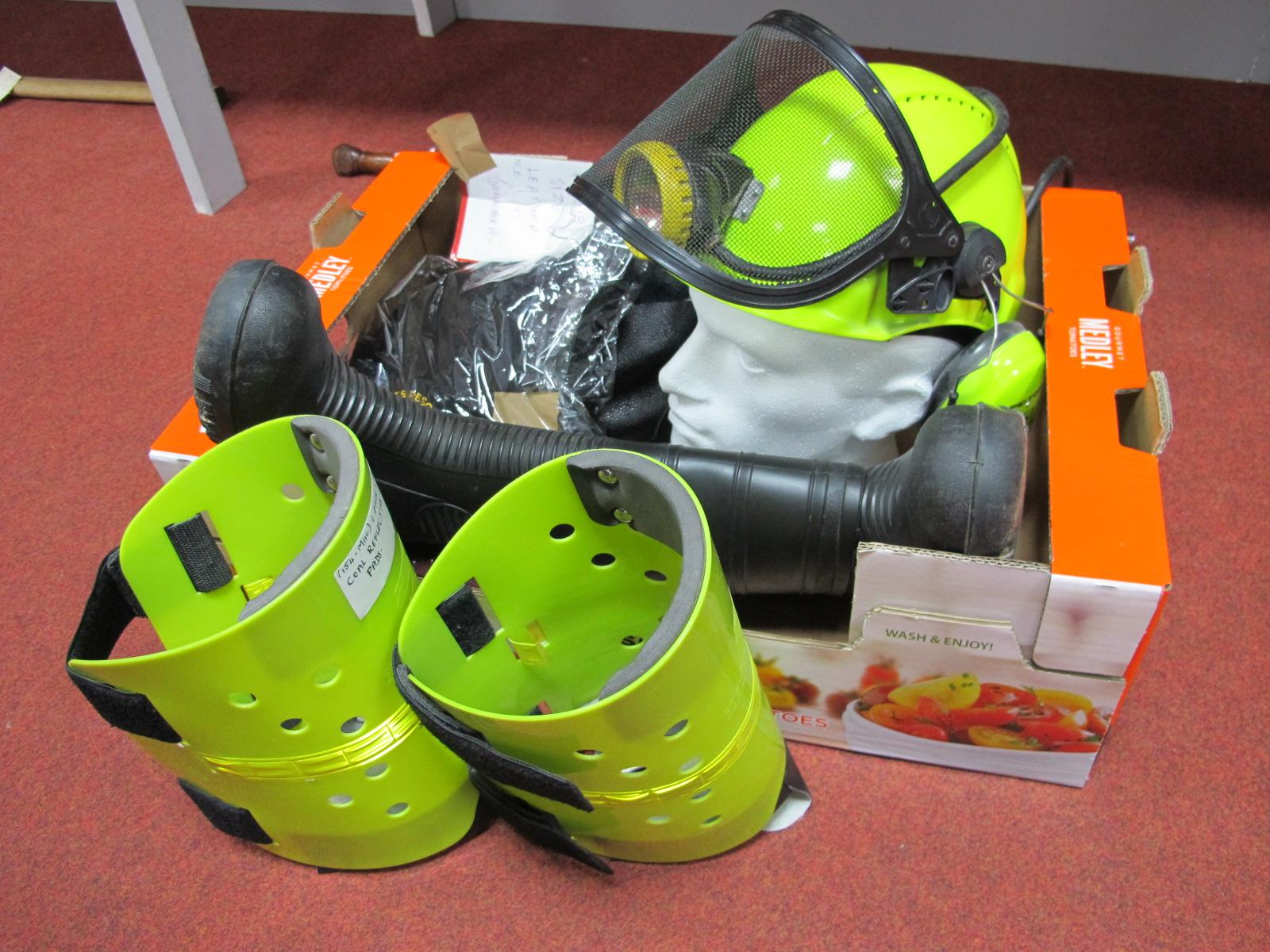 Luminous Green Mining Helmet and Peltor Ear Protectors, E.S. Shinpads, British Coal 'Suretred'