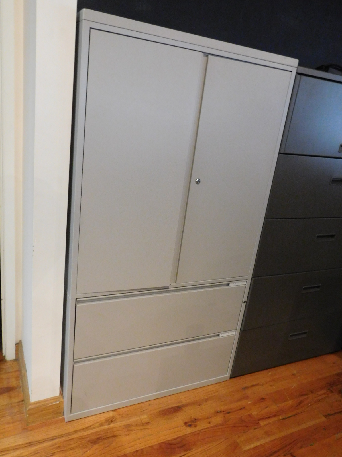 Herman miller meridian double door storage cabinet with 2 for Meridian cabinet doors