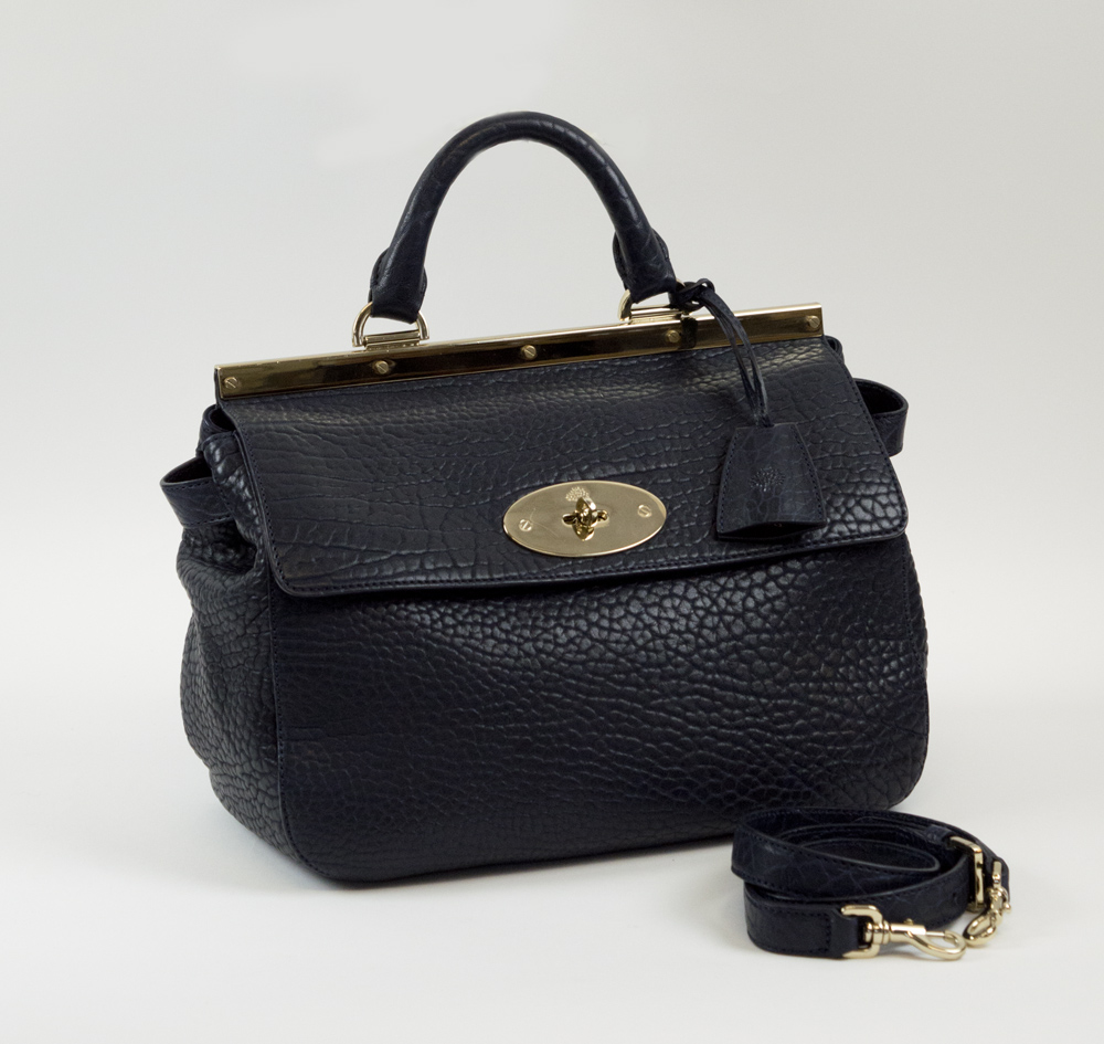 buy lot 479 mulberry suffolk bag navy blue leather single handle with  detachable shoulder strap 30259 9d399b1f35c8b