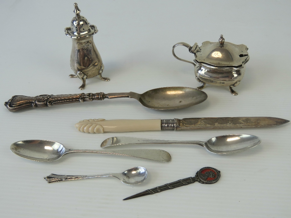 Lot 6 - A quantity of HM silver items including;