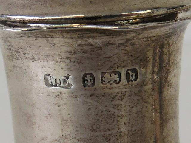 Lot 4 - A six piece HM silver cruet set comprising three salts, a pair of pepperettes (one leg a/f),