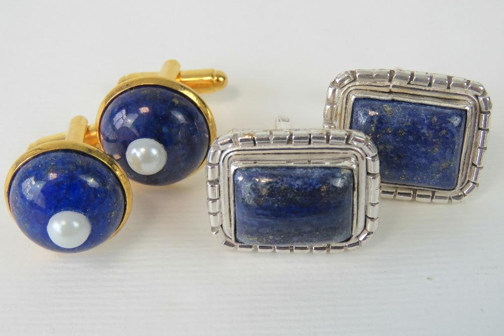 Lot 139 - A pair of lapis lazuli cufflinks stamped 925,